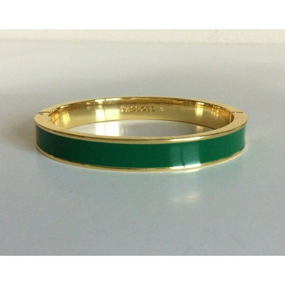 Talbots Clamper Bangle Bracelet Green Enamel Gold